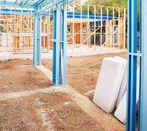 steel building frame with insulation