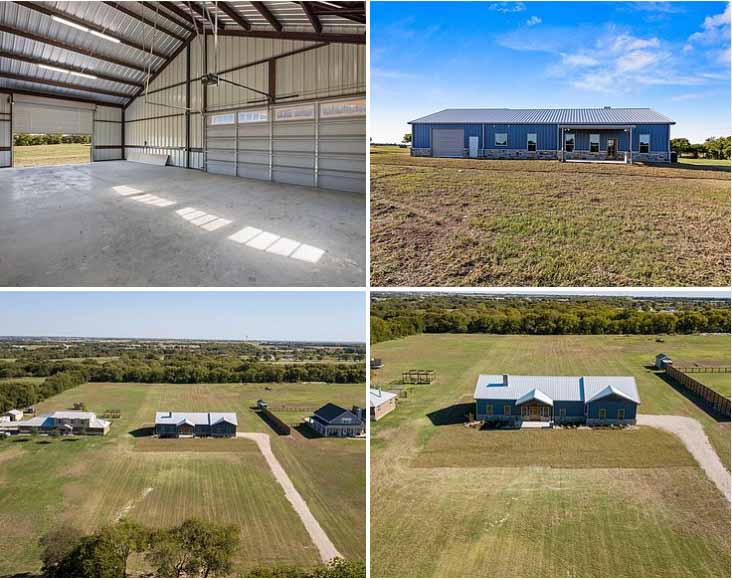 large steel building home with a garage